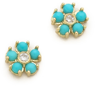 Jennifer Meyer Turquoise Flower Diamond Stud Earrings