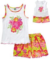 Dollie & Me Girls 4-14 Tropical Floral Tank Top & Pom-Pom Shorts Set