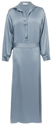 ASCENO Porto Silk-satin Midi Shirt Dress - Grey
