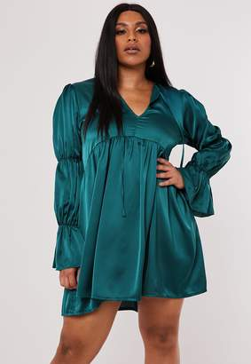 Missguided Plus Size Teal Satin Tiered Sleeve Smock Dress