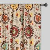 Cost Plus World Market Gold and Red Suzani Cotton Curtains, Set of 2
