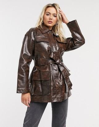 ASOS DESIGN croc four pocket belted jacket in dark brown