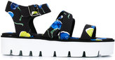 MSGM printed platform sandals - women - Cotton/Leather/Polyester/rubber - 36