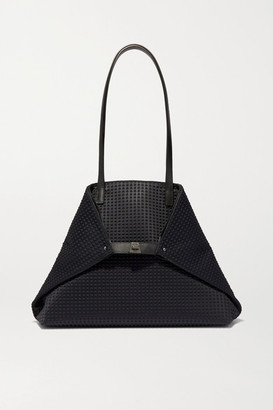 Akris Ai Large Leather-trimmed Embossed Canvas Tote - Black