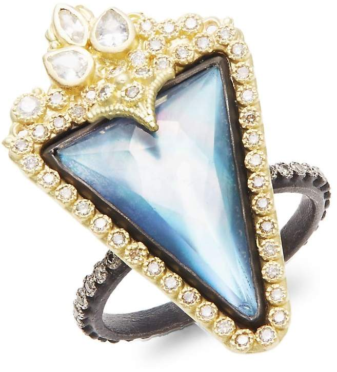 Armenta Women's Old World Mother-Of-Pearl, Sapphire, Quartz, Diamond, 18K Yellow Gold & Sterling Silver Ring