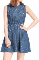 Allegra K Women's Sleeveless Polka Dots Elastic Waist Denim Dress M