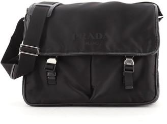 Prada Logo Messenger Bag Tessuto Large