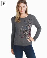 White House Black Market Petite Embroidered Floral Pullover Sweater