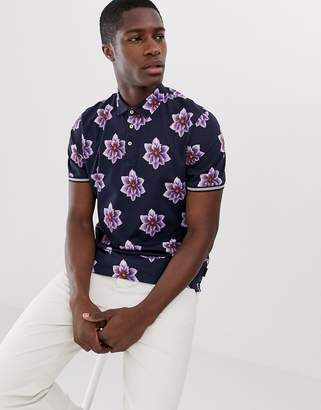 Ted Baker polo shirt with Hawaiian floral print-Navy