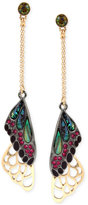Betsey Johnson Two-Tone Stone and Pavé Butterfly Wing Drop Earrings