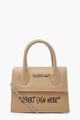 boohoo Insert Cash Slogan Structured Cross Body Bag