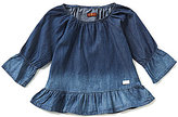 7 For All Mankind Big Girls 7-16 Off-The-Shoulder Ruffled Bell-Sleeve Ombre Top