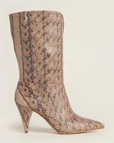 Louise et Cie Dark Alpaca Winslow Mid-Calf Snakeskin-Effect Boots
