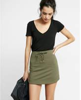 Express lace-up twill military mini skirt