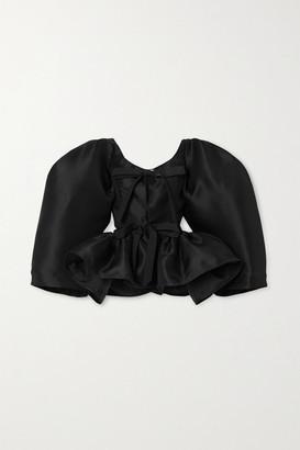Christopher John Rogers Tie-front Silk-gazar Peplum Blouse - Black