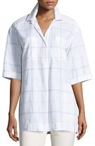 Lafayette 148 New York Yohanna Lacombe Windowpane Blouse, Multi Pattern