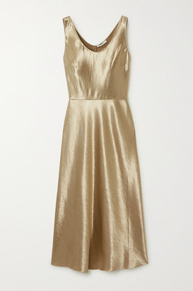 Vince Hammered-satin Midi Dress - Gold
