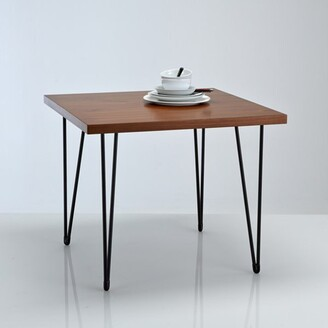 La Redoute Interieurs WATFORD Vintage-Style Square Walnut & Metal Dining Table (Seats 4)