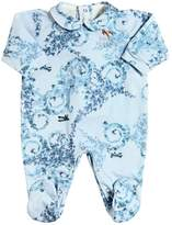 Versace Planes & Ivy Print Cotton Jersey Romper