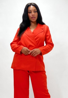 Missguided Plus Size Orange Co Ord Tie Side Blazer