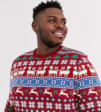 ASOS DESIGN Plus christmas sweater in llama design