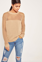 Missguided Camel Open Stitch Sweater