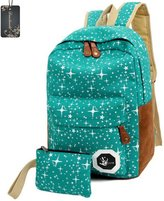 Donalworld Woen Canvas Backpack School Bag Print Teenager Backpack Set