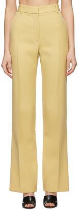 Victoria Beckham Yellow Wool Split Hem Trousers