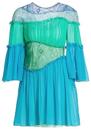 Alberta Ferretti Gathered Lace Silk Mini Dress