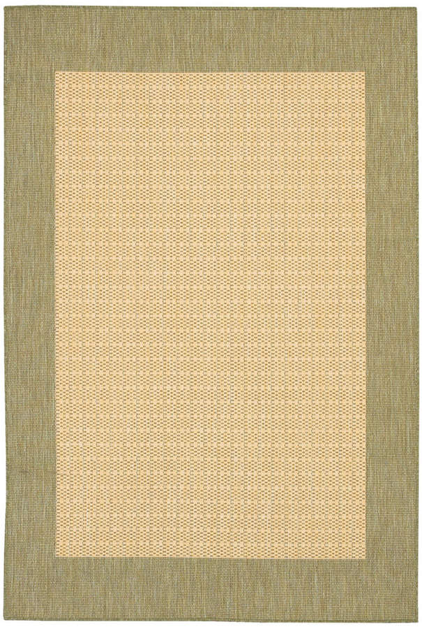 """Couristan Closeout! Area Rug, Recife Indoor/Outdoor 1005/5005 Checkered Field Natural-Green 8' 6"""" Square"""