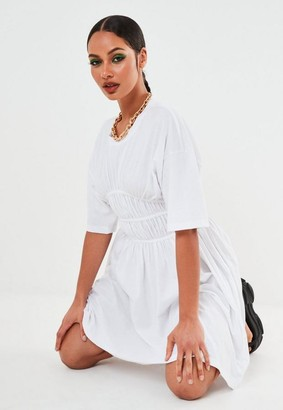 Missguided Petite White Ruched Waist Skater Dress