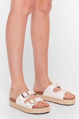 Nasty Gal Womens Step on Up Faux Leather Croc Sliders - White