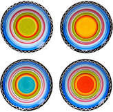 Certified International Tequila Sunrise Set Of Four 6In Hand-Painted Canape Plates