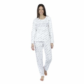 Undercover Lingerie Ltd Womens Selena Secrets Sleep Under The Stars Fleece Pyjamas LN833 White 10-12