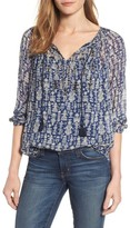 Lucky Brand Women's Embroidered Tie Neck Peasant Top