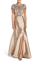 Adrianna Papell Embellished Mesh & Taffeta Ballgown