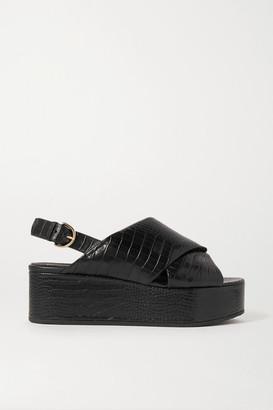 Co Croc-effect Leather Platform Sandals - Black