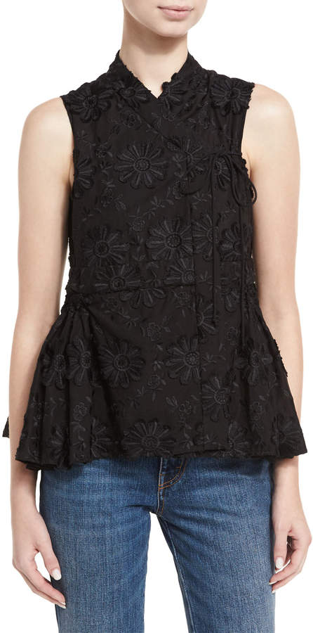 Co Floral-Embroidered A-Line Top