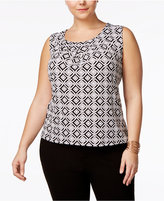 Kasper Plus Size Geo-Print Pleated Shell
