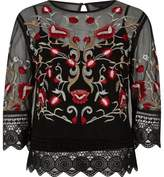 River Island Womens Black mesh floral embroidered lace trim top