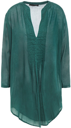 Vix Paula Hermanny Pintucked Cotton-voile Coverup