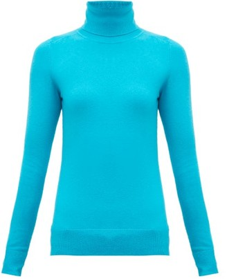 JoosTricot Roll-neck Cotton-blend Reachskin Sweater - Womens - Blue