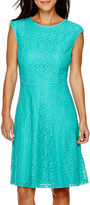 London Times London Style Collection Cap-Sleeve Lace Fit-and-Flare Dress