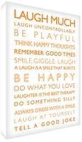 Feel Good Art Gallery Wrapped Box Canvas with Solid Front Panel (91 x 60 x 4 cm, X-Large, White and Orange, Laugh Much From The Inspiration Collection)