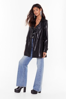 Nasty Gal Womens Faux Leather Longline Jacket with Notched Lapels - Black