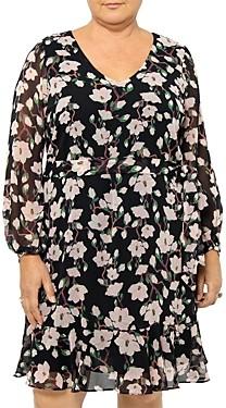 Estelle Plus Magnolia Bloom Frilled Dress