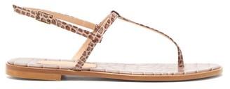 BEIGE Avec Moderation - St. Lucia T-bar Crocodile-effect Leather Sandals - Womens
