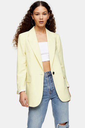 Topshop Womens Considered Yellow Single Breasted Suit Blazer - Lemon