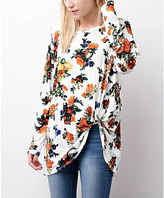 Jane Off-White Floral Twist-Hem Tunic
