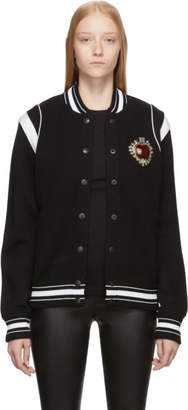 Givenchy Black Knitted Apple Patch Bomber Jacket